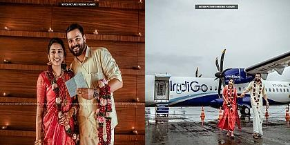 """Love is in the air"" Kerala couple's flight wedding photo shoot goes viral!"