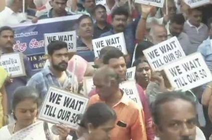 Devotees take out a march in Chennai against Sabarimala Verdict
